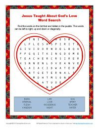 Jesus Taught Abouts Love Bible Word Search