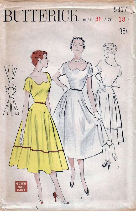 1950s Butterick 5317 FF Vintage Sewing Pattern Misses Formal ...