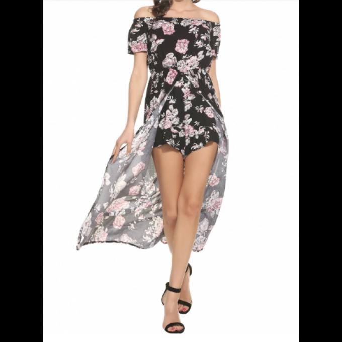 cher imprimé short Combi long floral avec voilage pas w0gIqxfUI