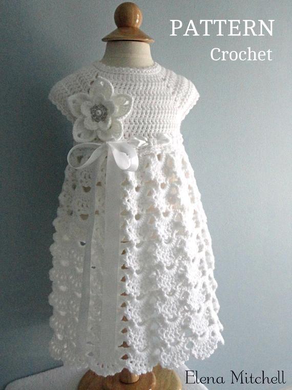 Photo of Crochet PATTERN Baby Dress Baptism Dress Pattern Crochet Christening Dress Newborn Outfit Baby Girl Clothes Crochet Baby Dress PATTERN PDF
