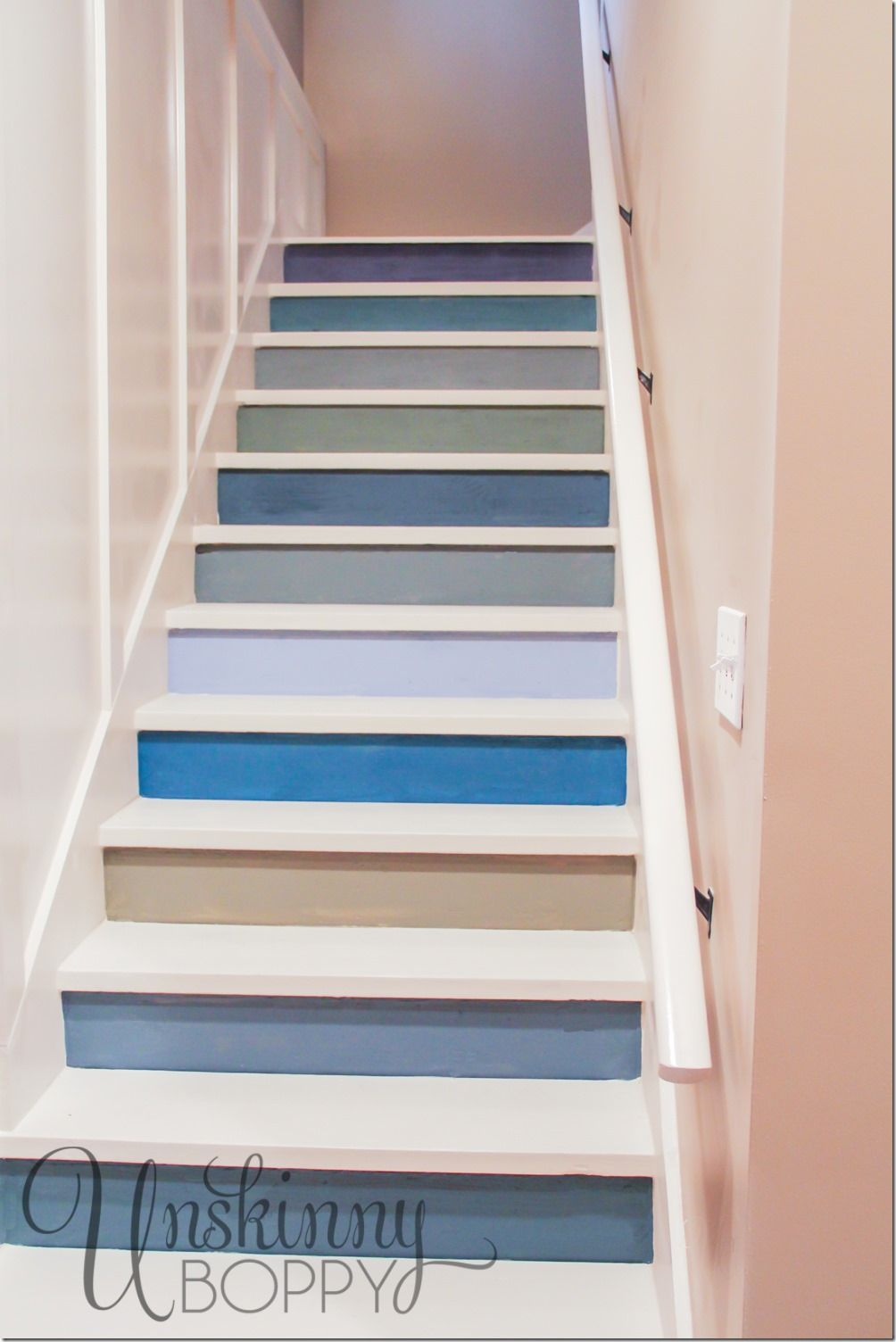 Painted basement steps with board and batten to protect - Ideas for basement stairs ...