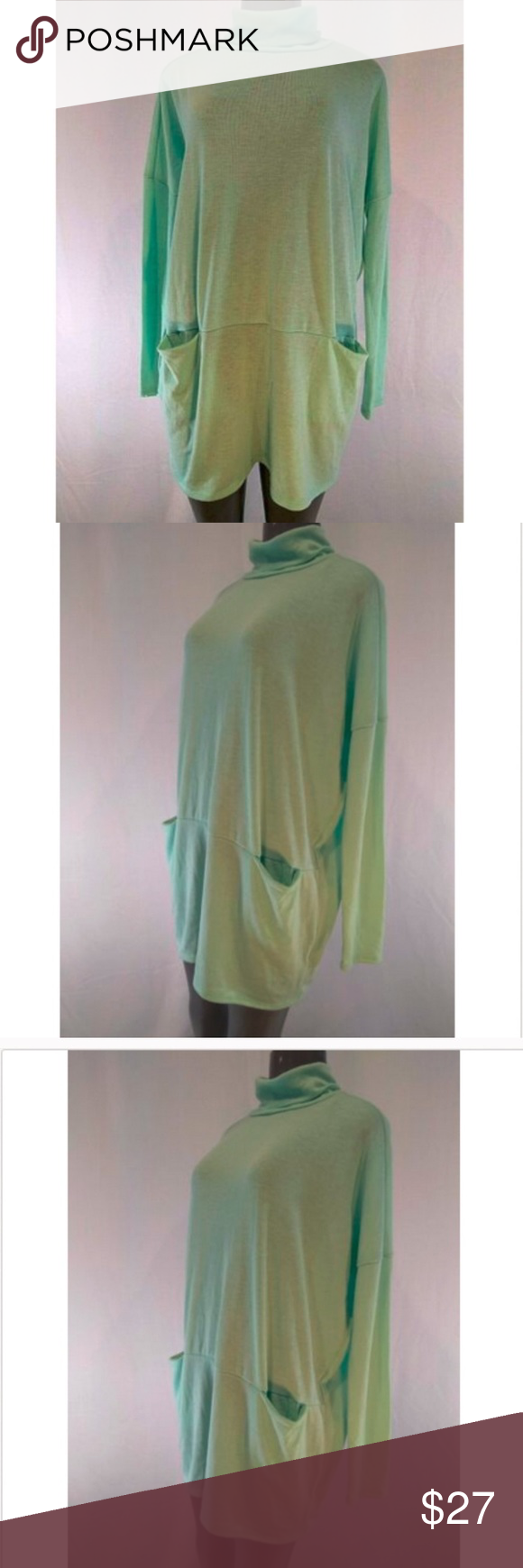 Nymphe Women's Turtleneck Green Sweater Large Nymphe Womens Turtleneck Sweater Large Green Oversized Pocket  Nymphe Womens Turtleneck Sweater Large Green Oversized Pockets NWT  Approx length 31 inches    Approx armpit to armpit 27 inches flat   T3  233130392259 08172019AB NYMPHE Sweaters Cowl & Turtlenecks