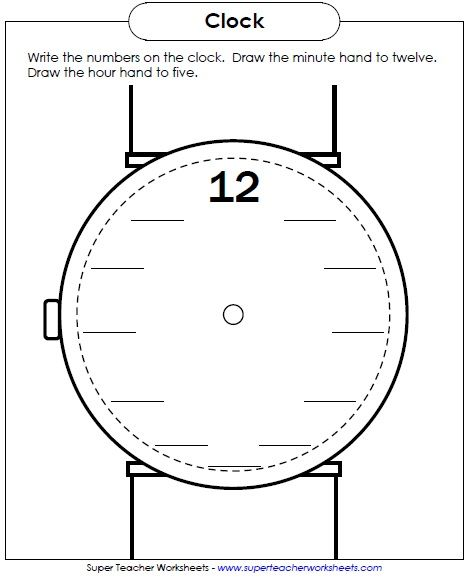 New Worksheet: Write the numbers on the clock face. Maybe a ...