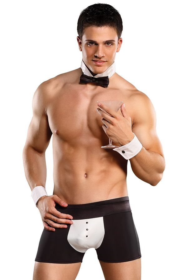 MALE POWER BUTLER COSTUME BOXER SHORT CUFFS /& BOW TIE