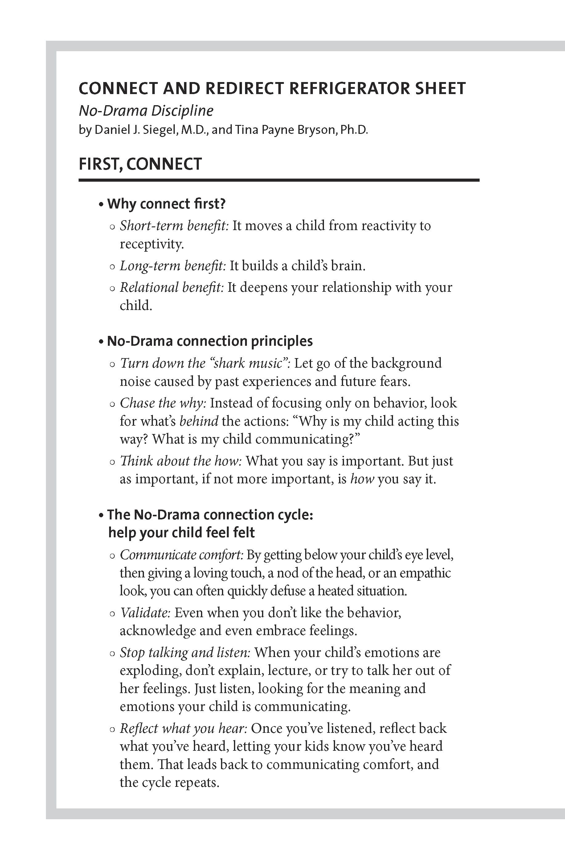 Extended Ebook Content For No Drama Discipline Connect And Redirect Refrigerator Sheet