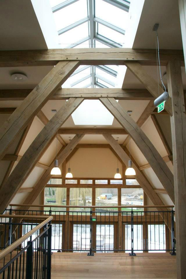 Jordans Mill in Biggleswade, UK is open for visitors - new oak frame visitor building by Roderick James Architects