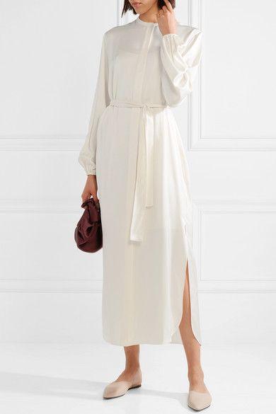The Row Norah Belted Silk Satin Maxi Dress Net A Porter Com