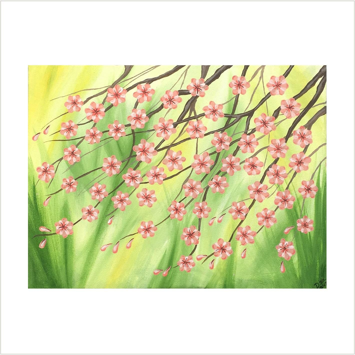 Pink Cherry Blossom Painting, Original Painting on Canvas, Japanese ...