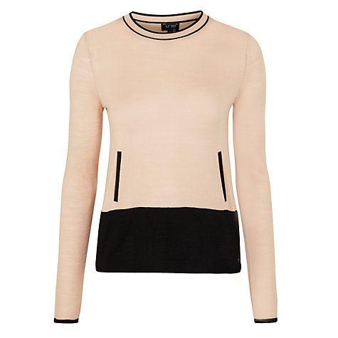 Buy Armani Jeans Colour Block Jumper, Nude/Black Online at johnlewis.com