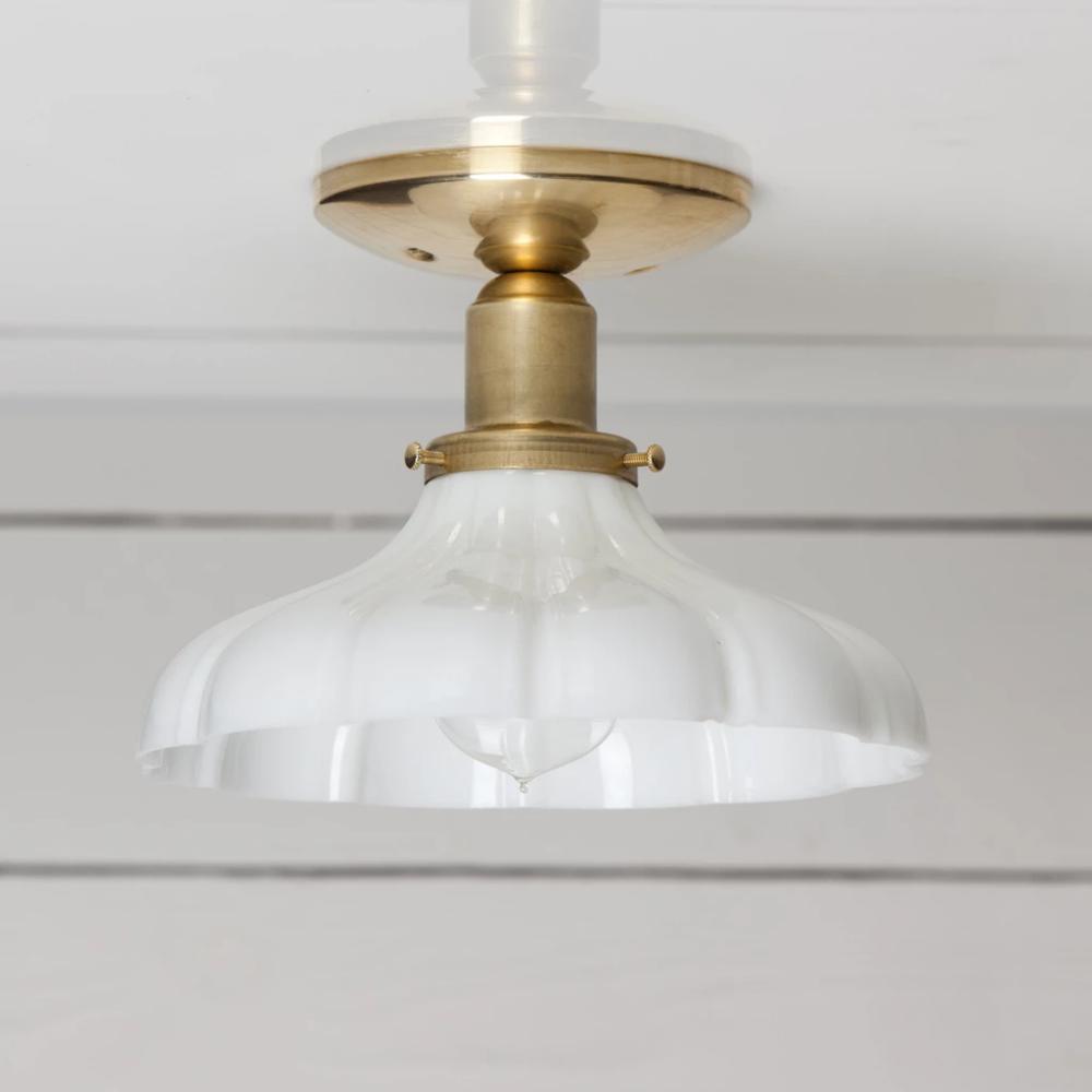 Vintage Milk Glass Ceiling Light Brass Base In 2020