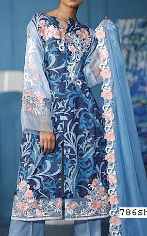 Blue Lawn Suit | Buy Gulmohar Pakistani Dresses and Clothing online ...