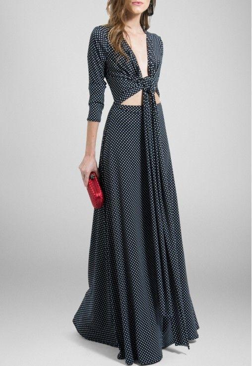 5817eeac1 VESTIDO MURIEL LONGO POWERLOOK - ESTAMPADO Vestido de malha com manga longa  e estampa de bolinhas brancas no fundo preto. Pode ser usado com vários  tipos de ...