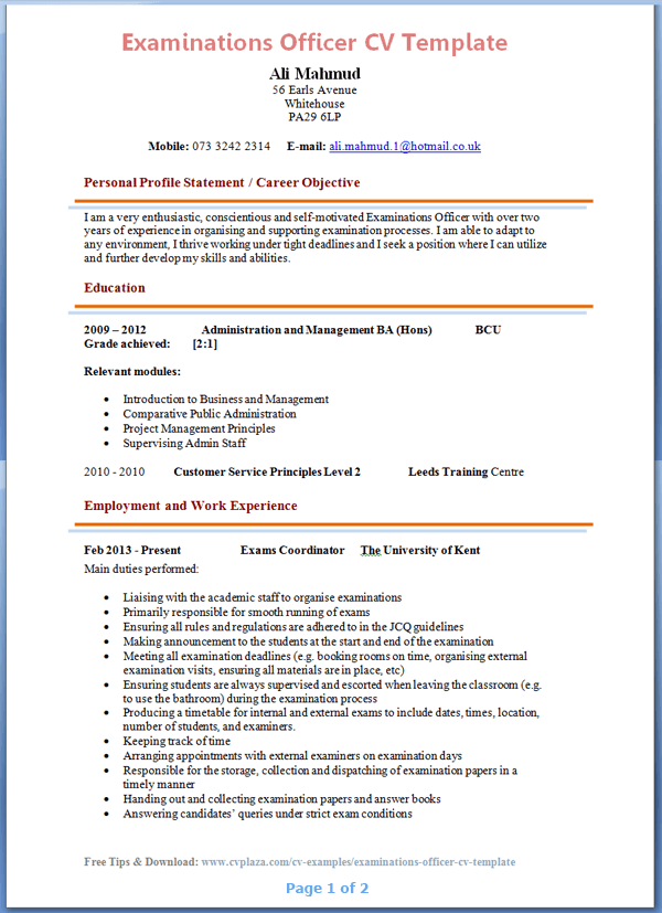 cv template for 6th formers