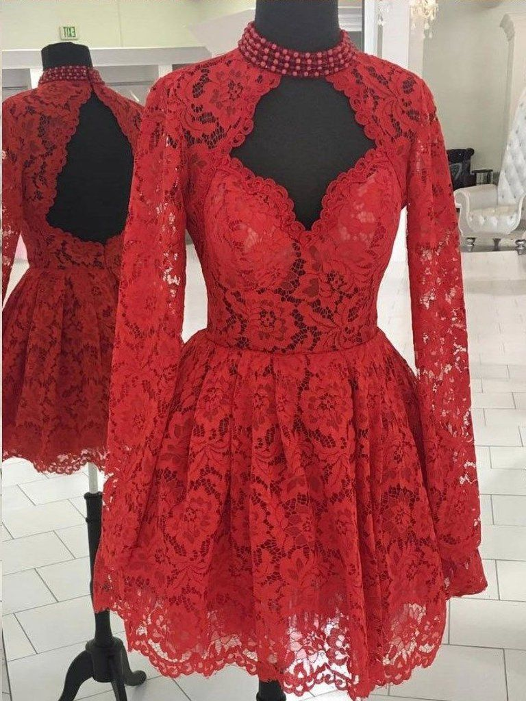 Chic aline high neck long sleeve homecoming dress red lace short