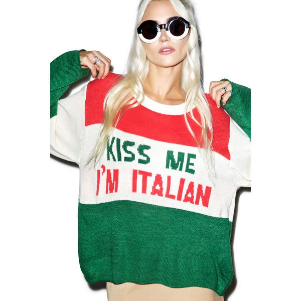 Wildfox Couture Kiss Me I'm Italian Vineyard Sweater (195 CAD) ❤ liked on Polyvore featuring tops, sweaters, embroidered top, renaissance top, long sleeve scoop neck top, ribbed sweater and white top
