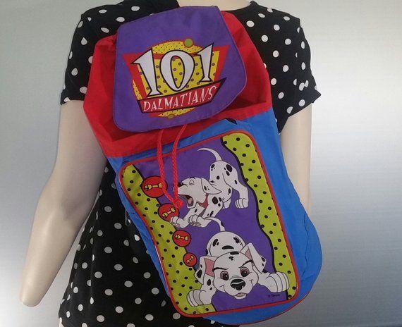 835f58dcd8 Rare 101 Dalmatians Backpack Sling Gym Duffle Bag 90s Kids Disney Toys Bag  Clothes Rave Fashion