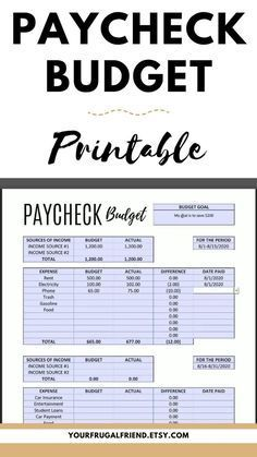 Paycheck to Paycheck Budget Template, Zero-Based B