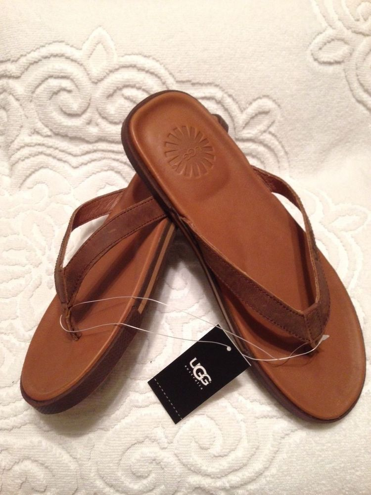 17a6a786e59 UGG Australia Bennison II Brown Surfer Leather Sandals Size 10 ...