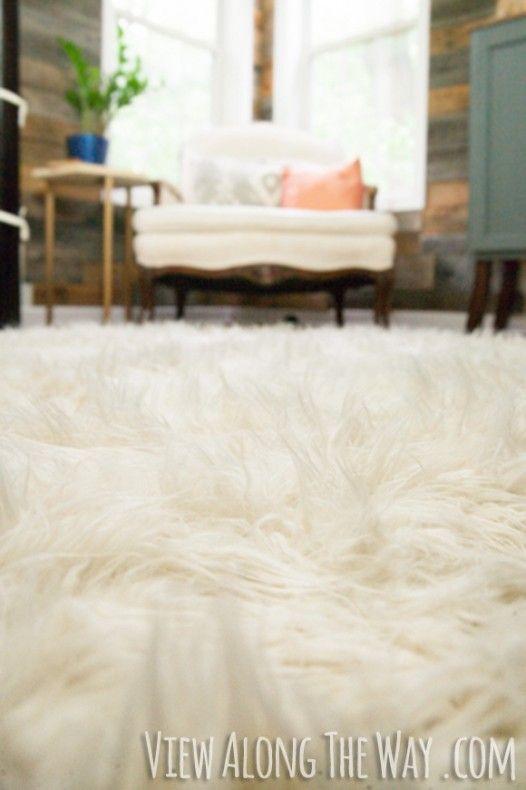 How To Make A Diy Faux Fur Rug View Along The Way Diy Rug Diy Rug Tutorial Diy Decor