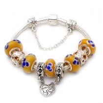 Mothers day gift! Yellow murano glass beads mother daughter dangle charm beads European bracelet