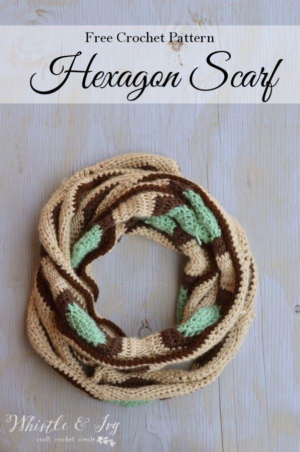 Hexagon Scarf | Tejido, Crochet bufanda y Cuellos tejidos