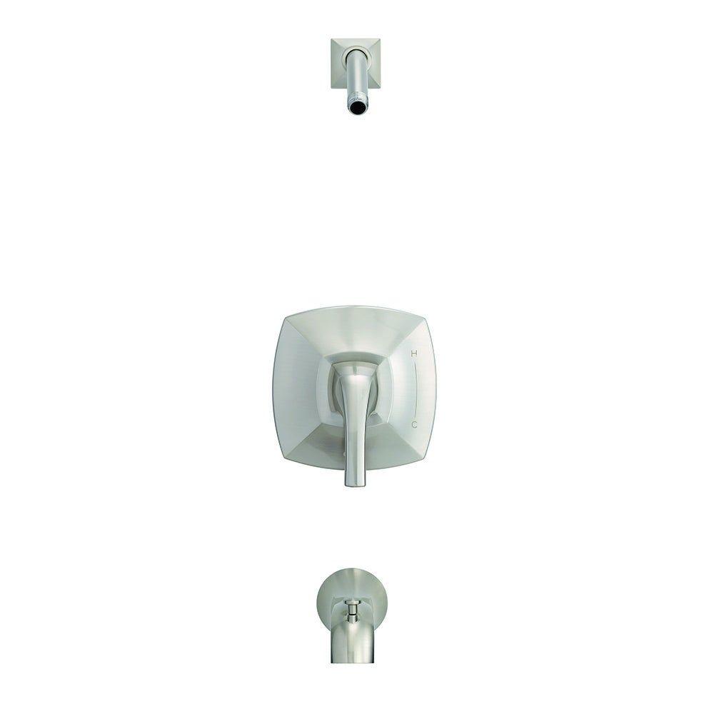 Photo of Danze Vaughn 1H tub and shower trim set & Treysta cartridge less shower head D500018LSBNTC brushed nickel