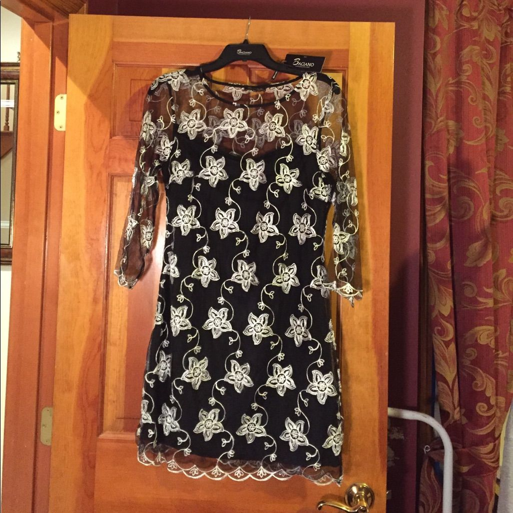 Black dress sheer with white embroidered flowers embroidered