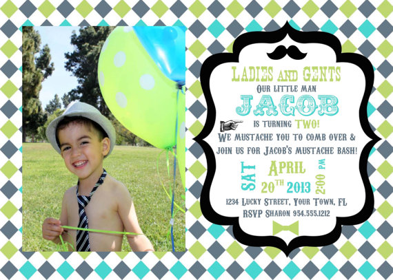 little man mustache bash invitation template 5x7 blue green grey