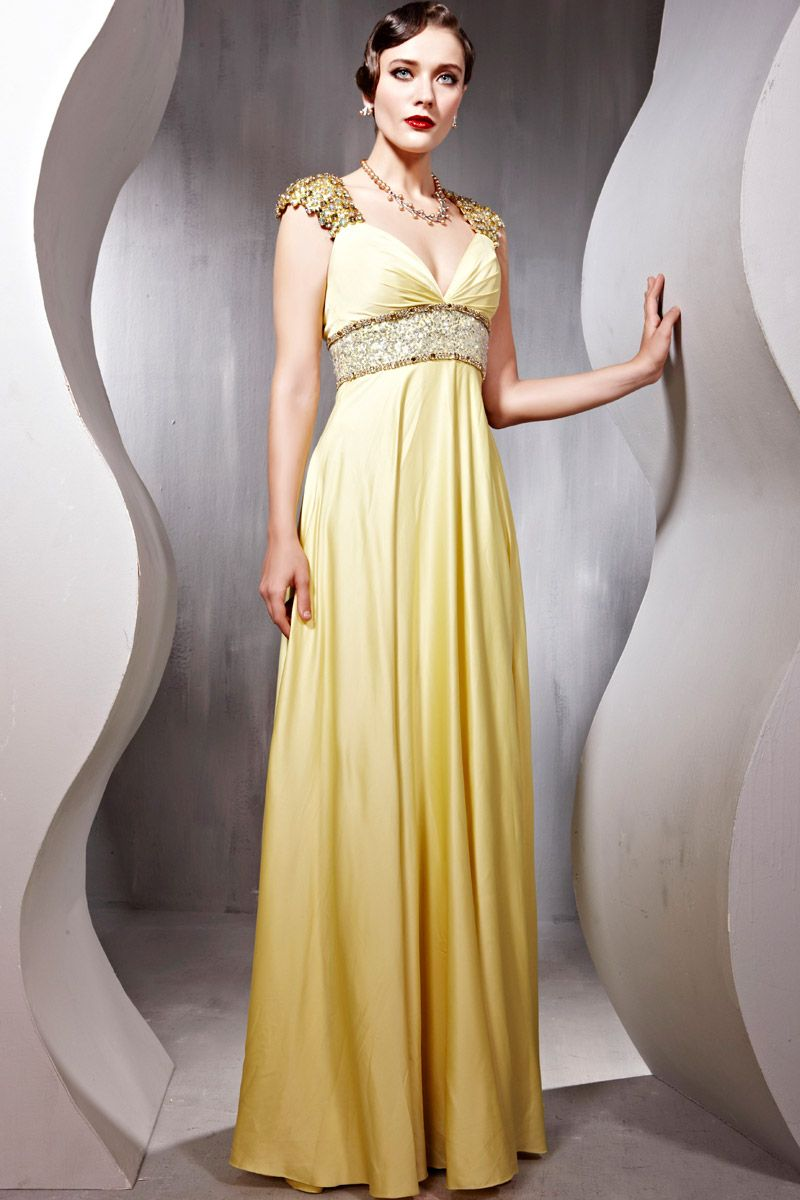 Cap Sleeve Chiffon Beading Yellow Dresses for Evening Party | Formal ...