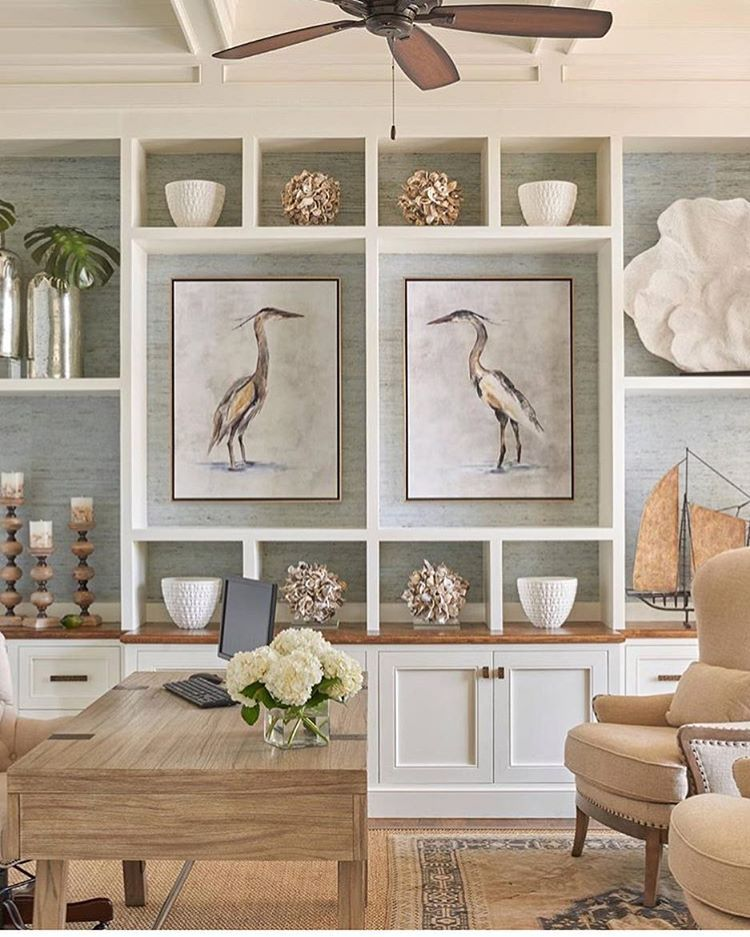 This @coastalinteriors Shot Has Us All . Layered Rugs, Grasscloth Backed  Shelves, And The Subtle Take On Blue And Orange.