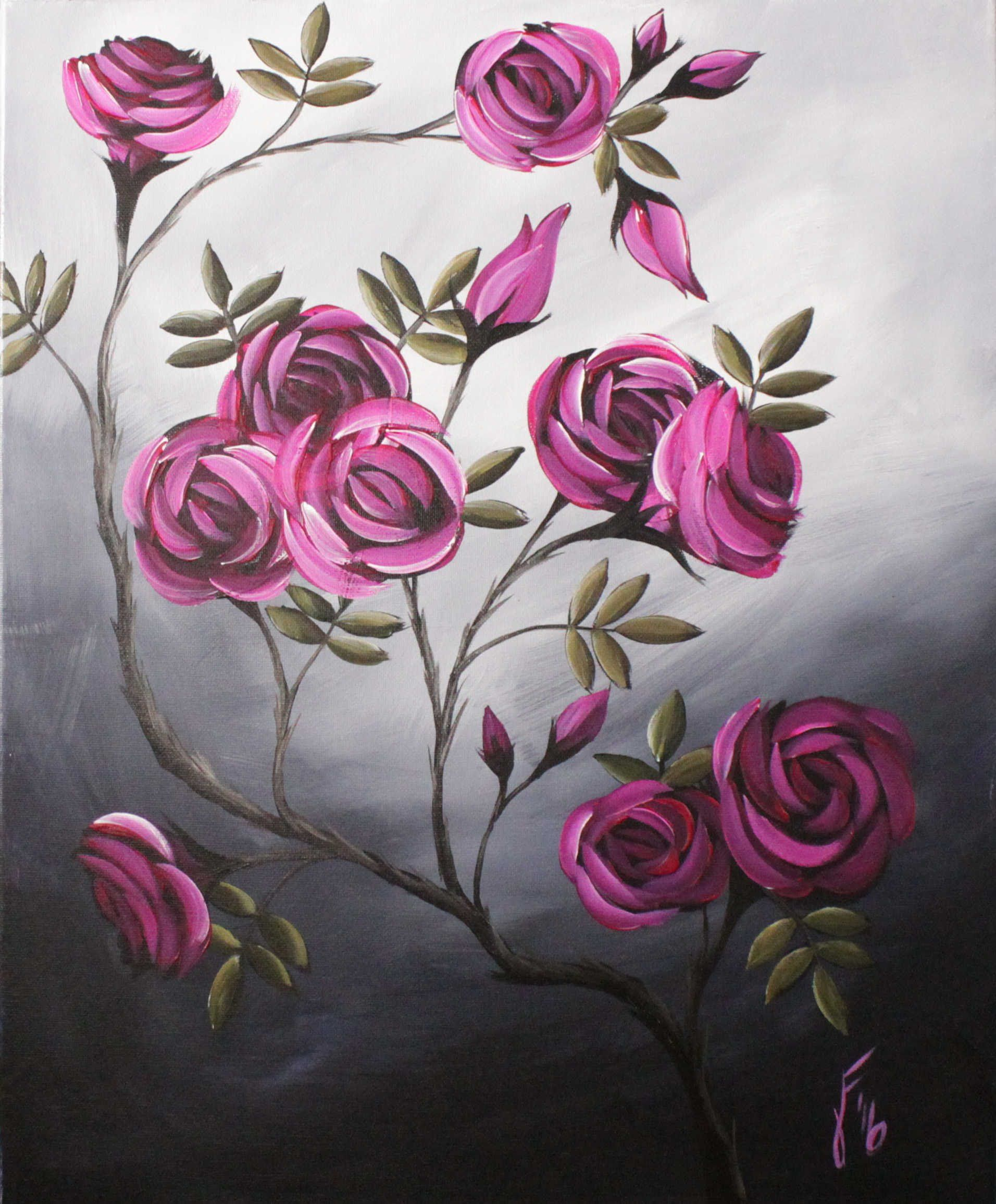 Coming Up Roses Step By Step Acrylic Painting On Canvas For