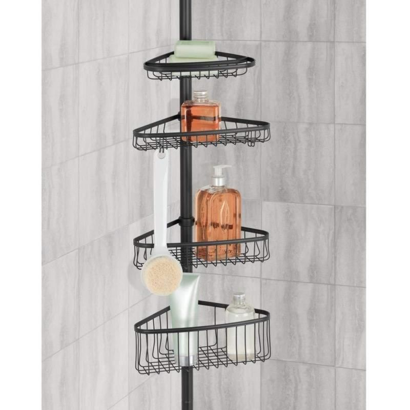 Bathroom Shower Caddy 4 Shelves Corner Pole Shampoo Holder Durable Bath Rack Set Bathroomshowercaddy Bath Rack Shower Storage Bathroom Shower