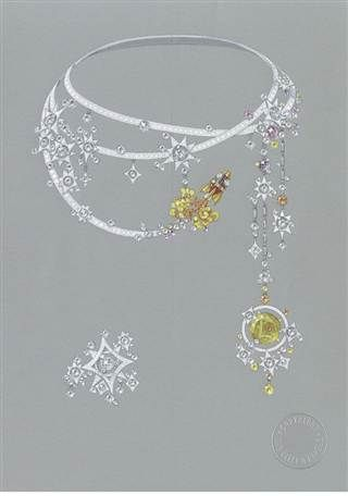 Eye catching & space-inspired jewelry sketch/drawing with soft highlights | (Photo: Cartier Collection)