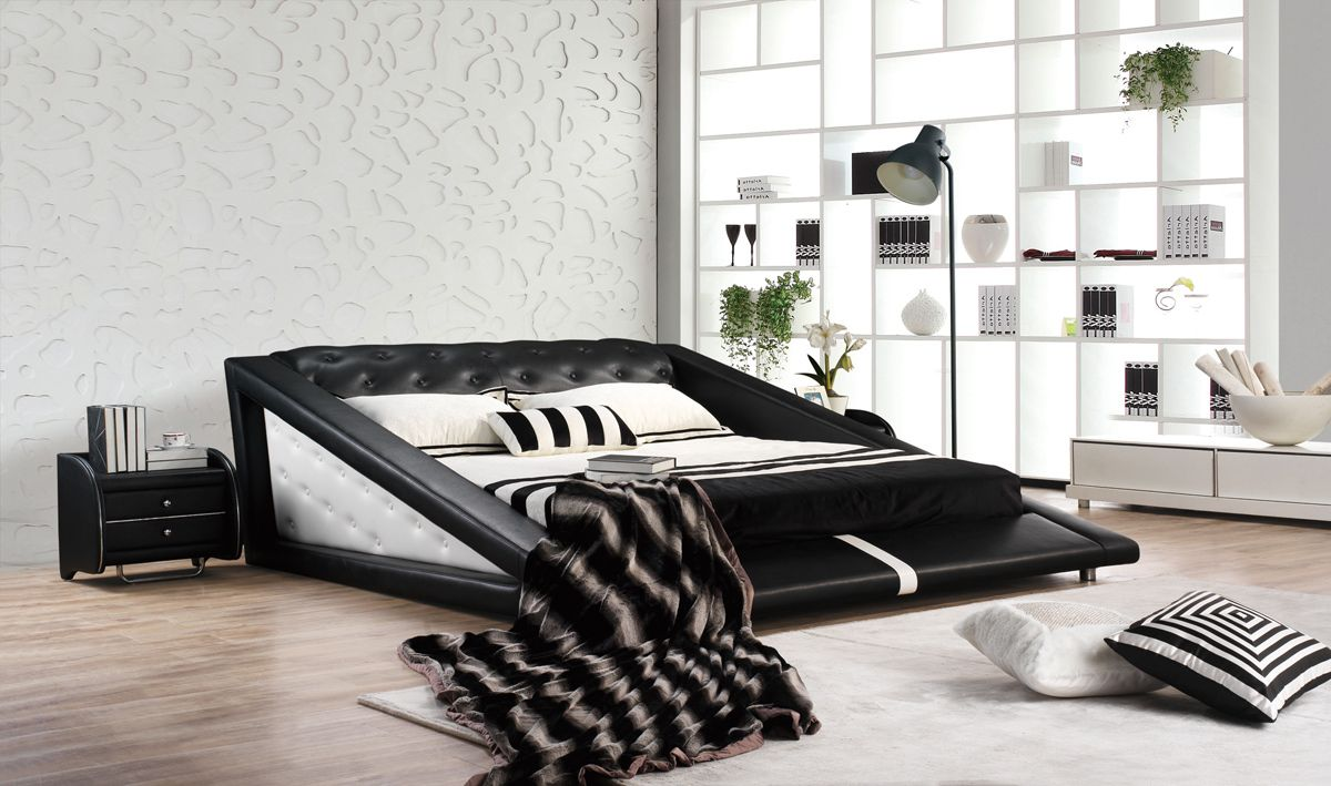 Best Vig Modrest J231 Black White Bonded Leather Bed 400 x 300