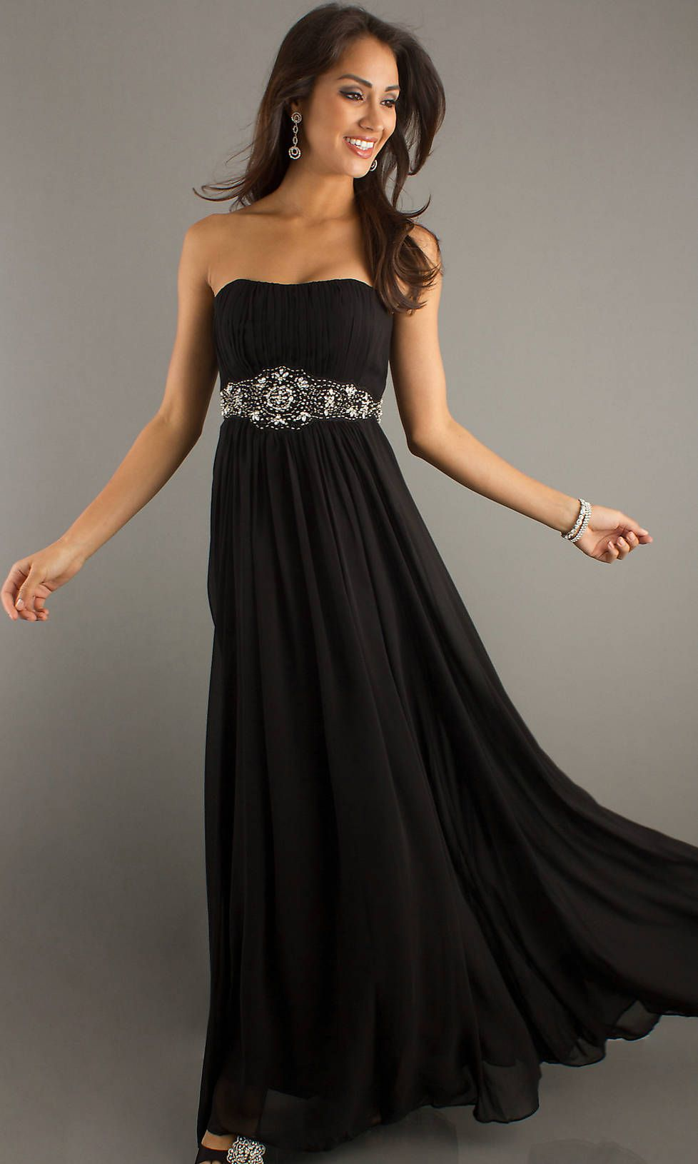 Beaded Waist Long Strapless Empire Ruched Black Prom Dress ...