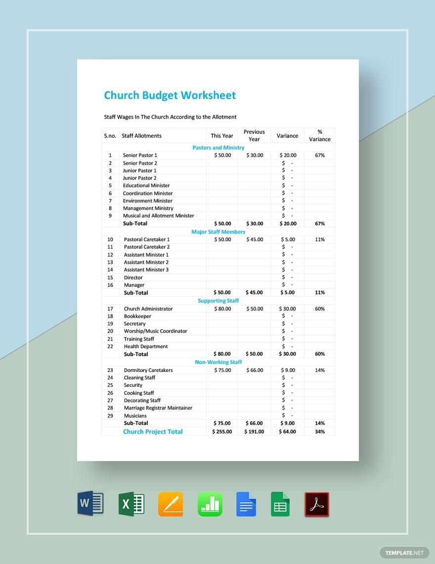 Church Budget Worksheet Budgeting Worksheets Printable Budget