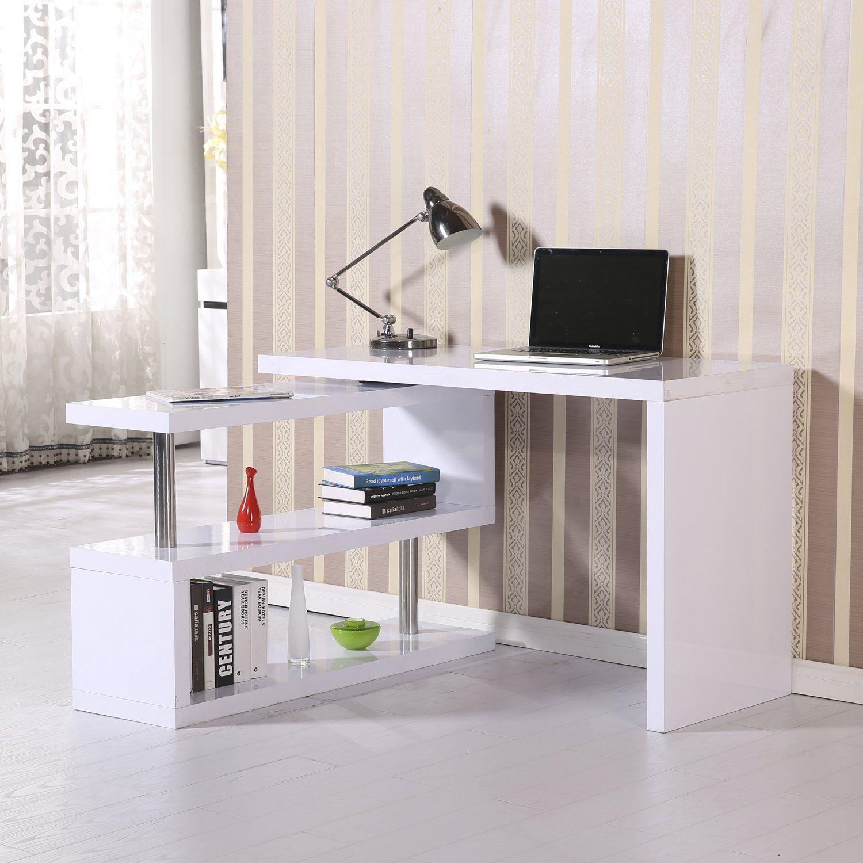 Homcom High Gloss Computer Pc Desk Storage Display Shelf