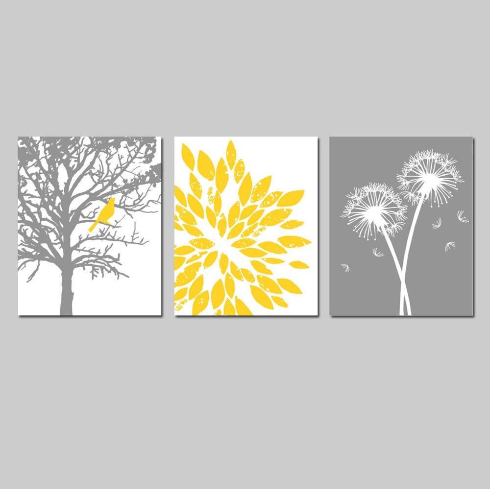 Photo of Yellow Gray Bathroom Decor Ideas – Yellow Gray Wall Art – Yellow Grey Wall Art Bathroom – Set of Three Nature Prints or Nature Canvas Art