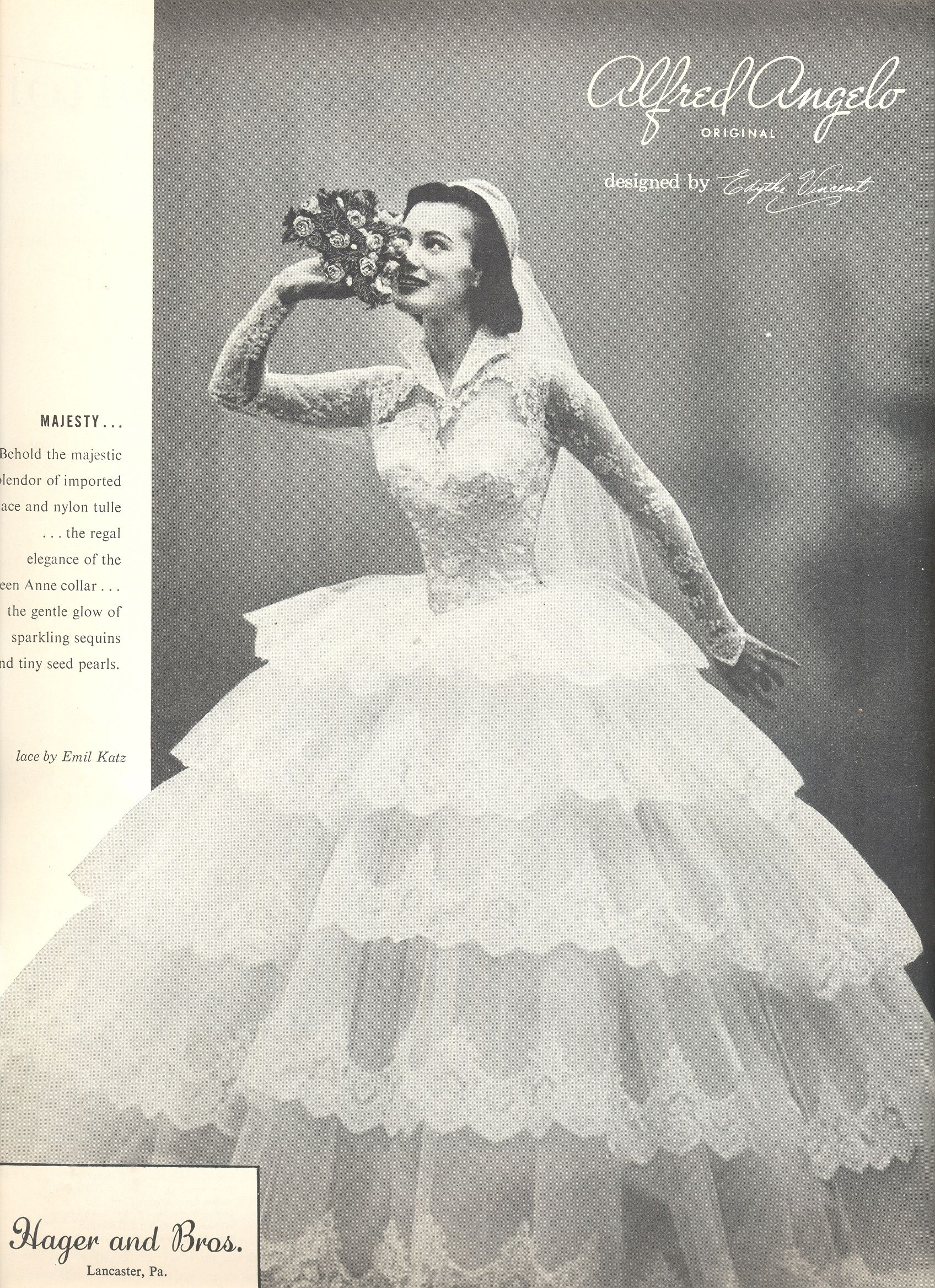 An Alfred Angelo Original Designed By Edythe Vincent 1956