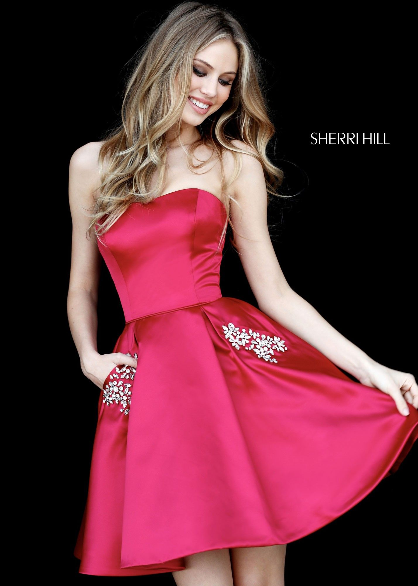 a5a7fe2ea94 Sherri Hill 51390 Strapless Satin Dress with Jeweled Pockets in 2019 ...