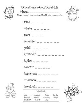 This is a fun activity to do around Christmas. Students unscramble ...
