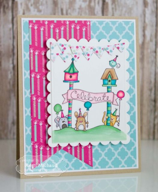 Celebrate Card by Kerri Michaud #Cardmaking, #TEMatched, #Birthday, #WishesonaWire, #TE, #ShareJoy