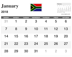 image result for 2018 calendar south africa printable