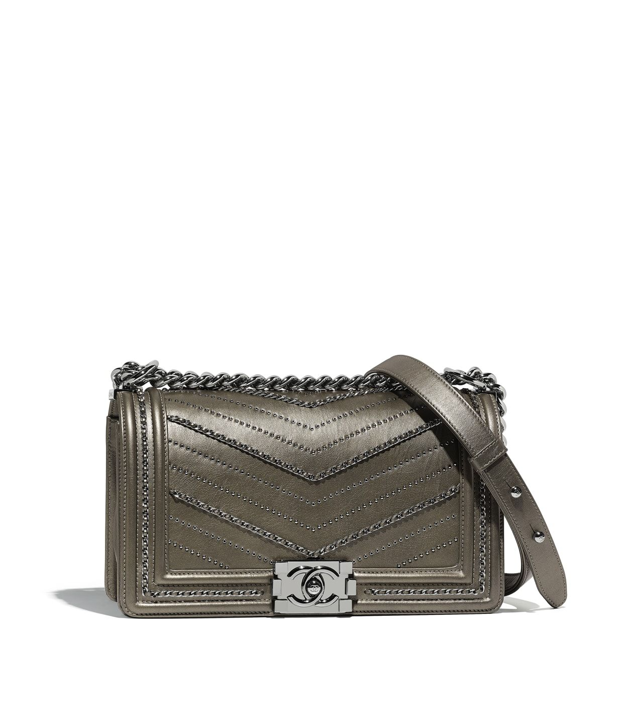 cf9c5eeff585 Discover the CHANEL Metallic Crumpled Calfskin & Ruthenium-Finish Metal  Silver BOY CHANEL Handbag, and explore the artistry and craftsmanship of the  House ...
