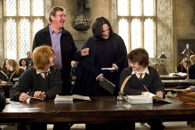 Harry Potter and the Goblet of Fire. Rupert Grint, Daniel Radcliffe, Alan Rickman, Mike Newell prove that Harry and Snape actually can get along.