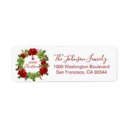 Wreath Ornaments Holiday Christmas Return Address Label Holiday - Christmas return address labels template