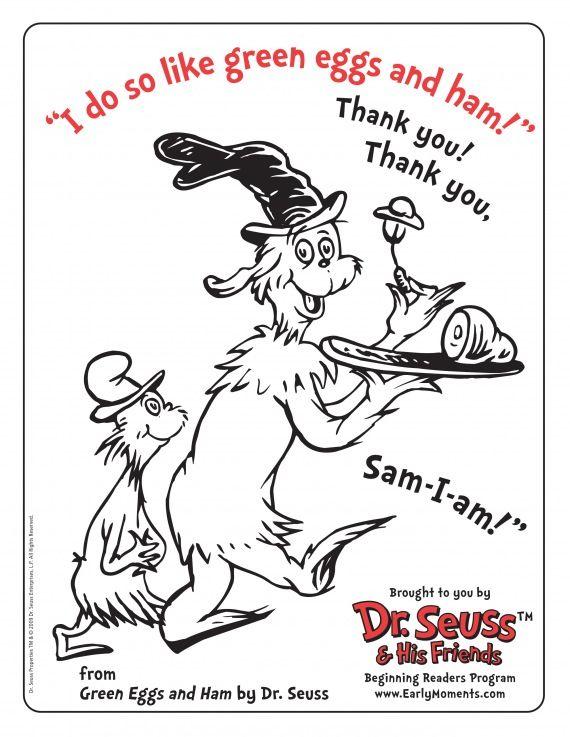 Dr Seuss Green Eggs Ham Coloring Page