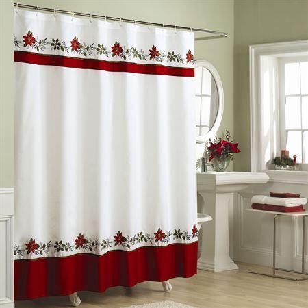 Nice Poinsettia Holiday Shower Curtain