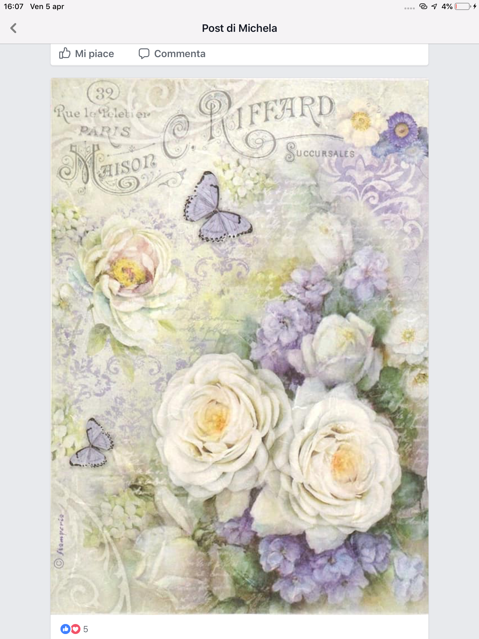 Violet Rice Paper for Decoupage Scrapbook Craft Sheet
