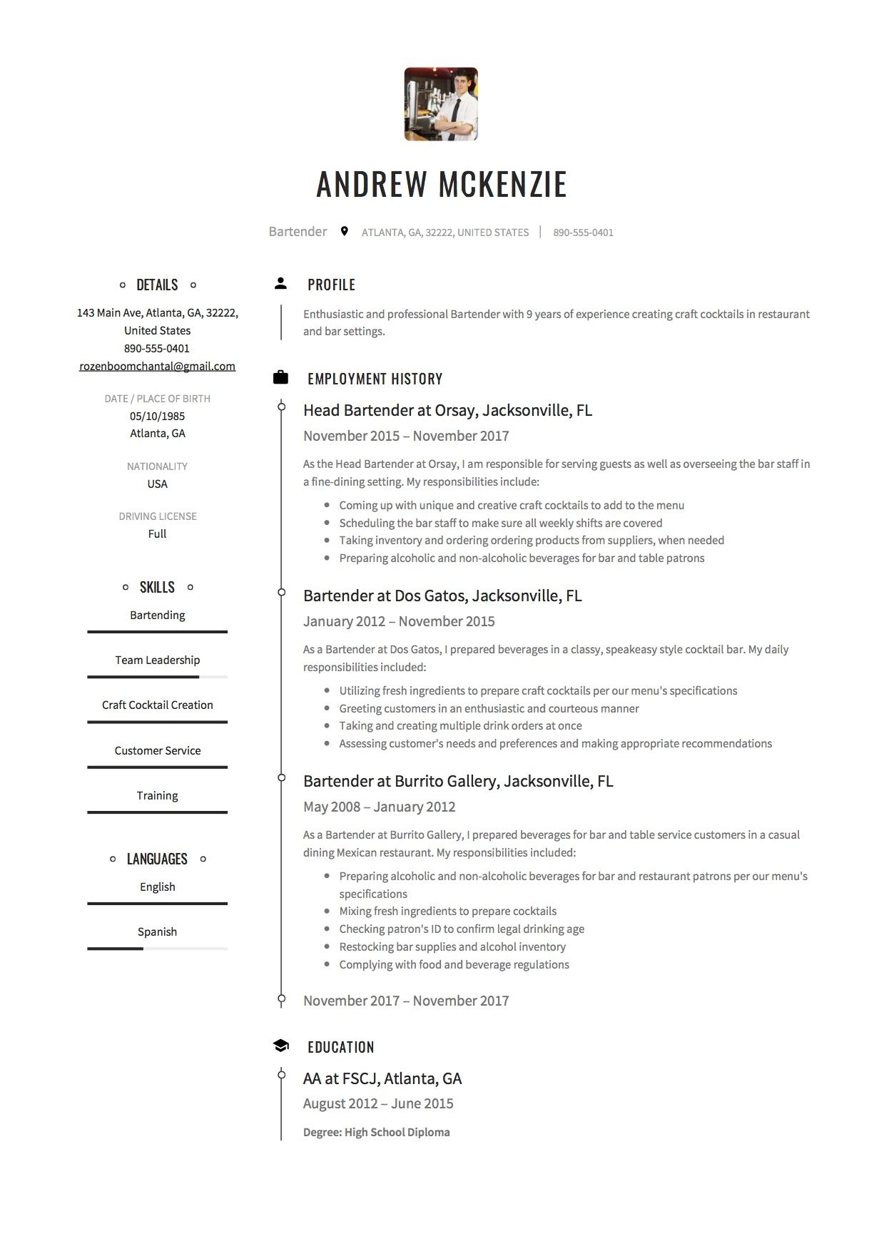 Free Bartender Resume Sample, Template, Example, CV. | Resume ...